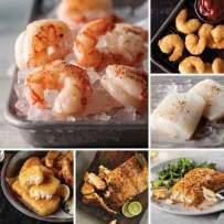 Salmon, Shrimp & More from Omaha Steaks (Wild Argentinian Red Shrimp, Pub-Style Cod, Marinated Salmon Fillets, Sole Almondine, Icelandic Cod Fillets, and Redhook Ale Beer-Battered Shrimp)