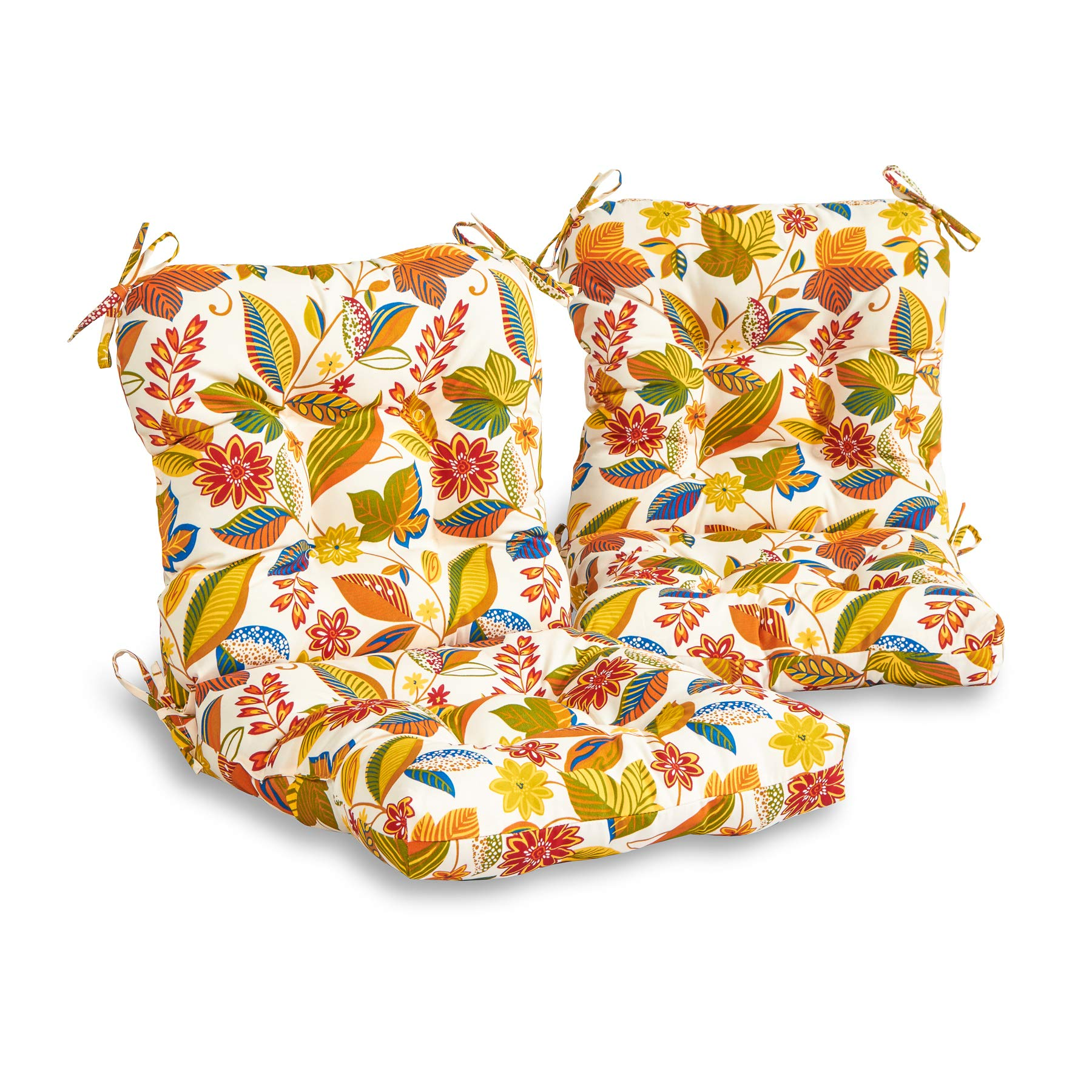 South Pine Porch AM6815S2-SKYWORKS Esprit Floral Outdoor Seat/Back Chair Cushion, Set of 2