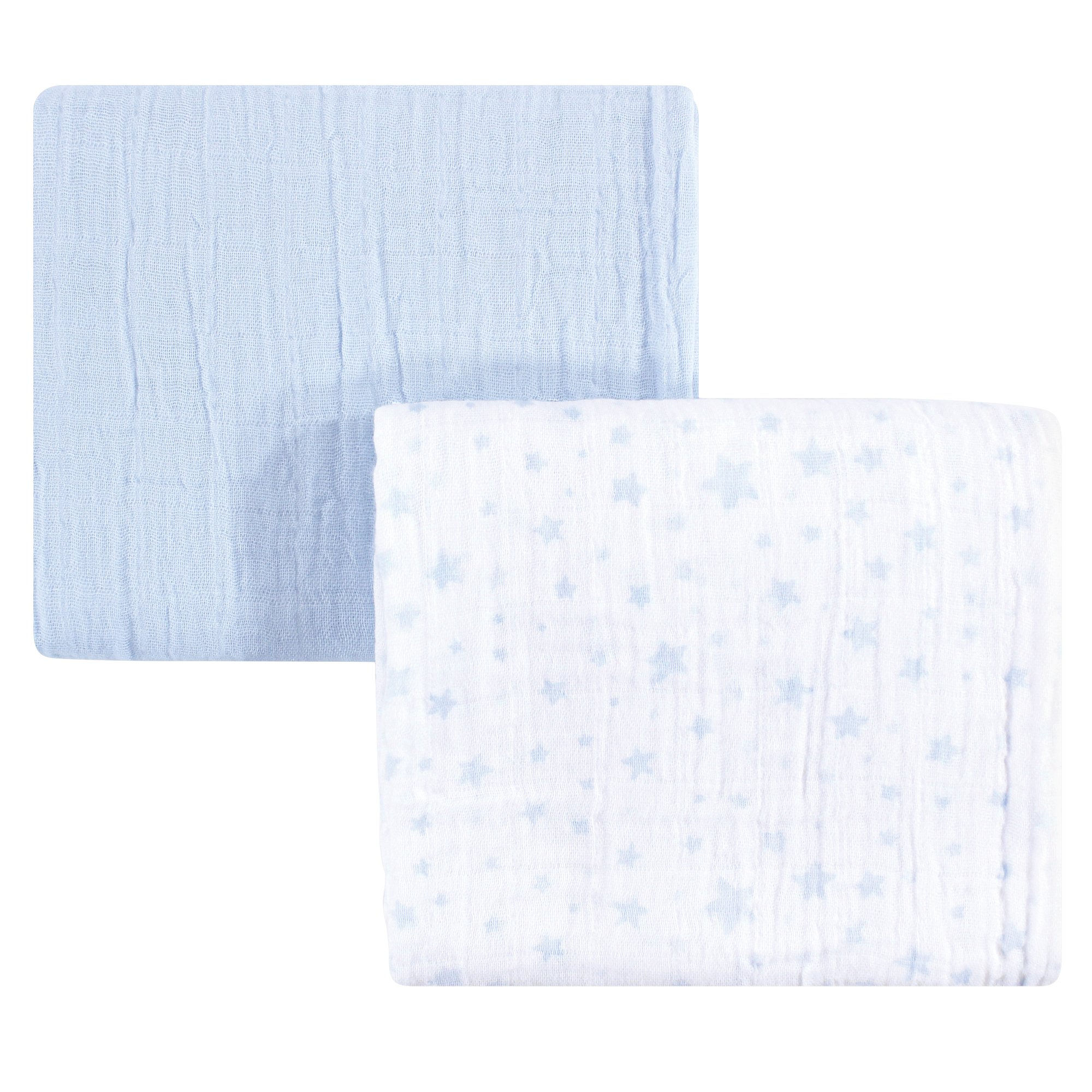 Hudson Baby Unisex Baby Cotton Muslin Swaddle Blankets, Blue Stars 2-Pack, One Size