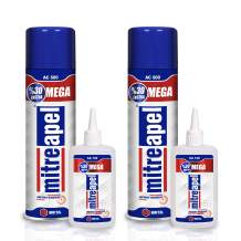 MITREAPEL Super CA Glue (2 x 4.6 oz.) with Spray Adhesive Activator (2 x 16.9 fl oz.) - Crazy Craft Glue for Wood, Plastic, Metal, Leather, Ceramic - Cyanoacrylate Glue for Crafting and Building 2 Pck