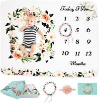 StableLifeOnWith Baby Monthly Milestone Blanket Girl or Boy - Baby Shower Gifts - Nursery Decor & Swaddle - Floral Blankets for Newborn Photo