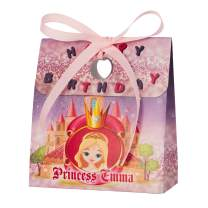 Personalized Treat Bags for Kids | 12 Mini Treat Boxes Per Pack | Princess Themed | Customized Happy Birthday Party Favors for Boys & Girls | Fill with Your Treats & Gifts