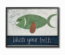 The Kids Room by Stupell Brush Your Teeth Fish Oversized Framed Giclee Texturized Art, 16 x 1.5 x 20, Proudly Made in USA