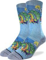 Good Luck Sock Men's Eating Rainbow Crew Socks - Blue, Adult Shoe Size 8-13