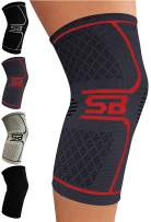 SB SOX Compression Knee Brace - Great Support That Stays in Place - Perfect for Recovery, Crossfit, Everyday Use - Best Treatment for Pain Relief, Meniscus Tear, Arthritis (Charcoal/Red, X-Large)