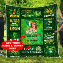 Personalized Name Birth Month Ireland Woman Girls Celtic Trinity Knot Quilt Fleece Throw Blanket Comforters Tapestry Queen Full Twin Size Christmas Birthday Shamrock Clover Claddagh Irish Roots Gifts
