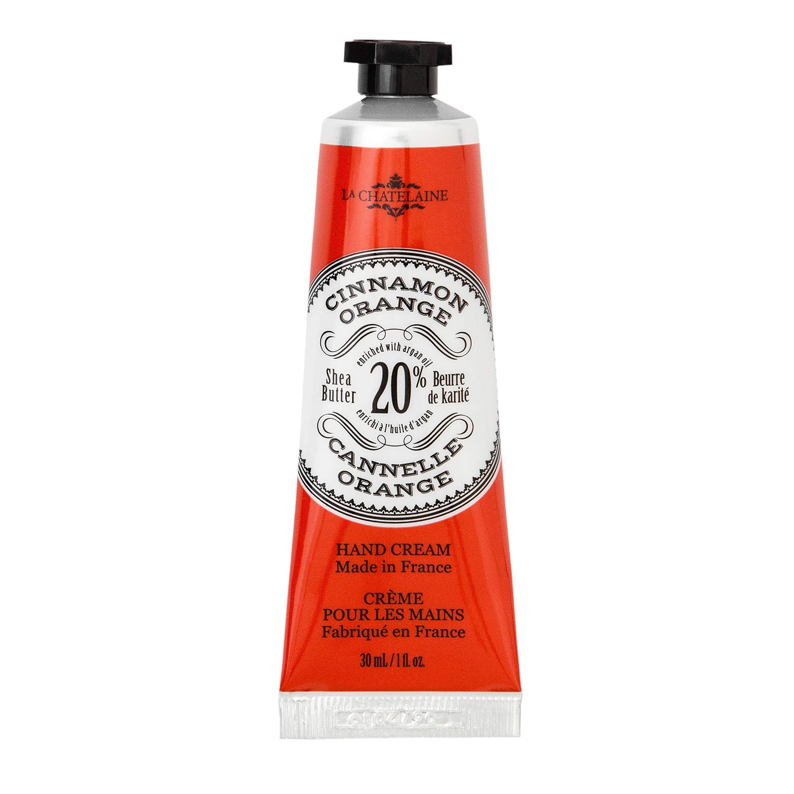 La Chatelaine 20% Shea Butter Hand Cream Cinnamon Orange Travel Size 1 oz, Organic Argan Oil, Moisturizing, Nourishing, Repairing, Extra-Rich Hand Lotion, Made in France, Paraben Free