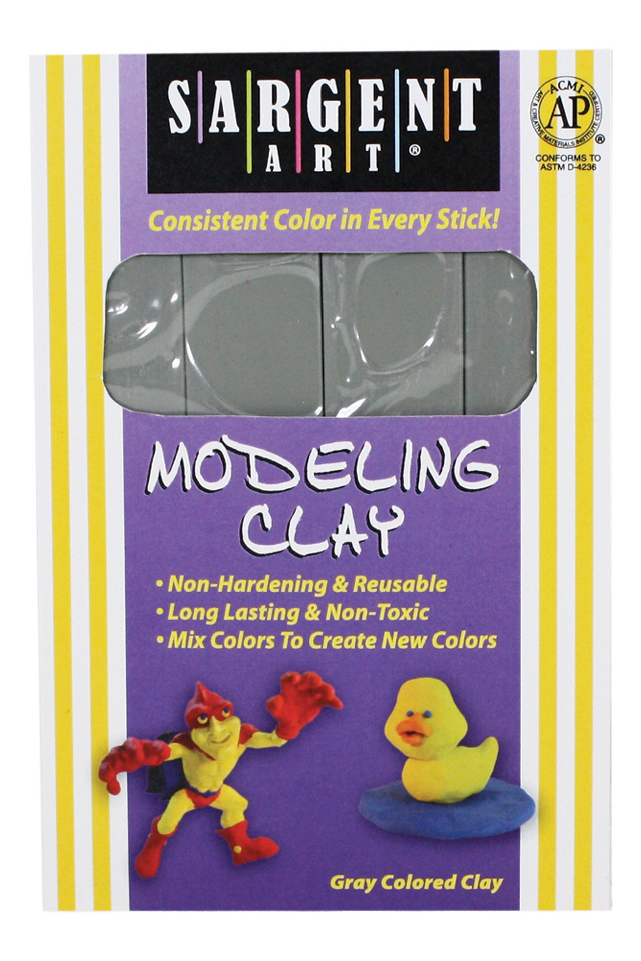 Sargent Art 22-4084 1-Pound Solid Color Modeling Clay, Gray