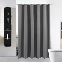 S·Lattye 40 x 72 Grey Shower Curtain Liner Water Repellent Fabric Washable Polyester (Wider Than 36 inches Hotel Quality Friendly) with Heavy Duty Plastic Hooks - Small, Gray Waffle