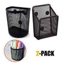 Vetoo 2 Pack Magnetic Pencil Holder, Magnetic Marker Holder, Mesh Storage Basket Organizer with Extra Strong Magnet, Mesh Pen Holder for Refrigerator, Whiteboard, Locker Accessories, Office Supplies