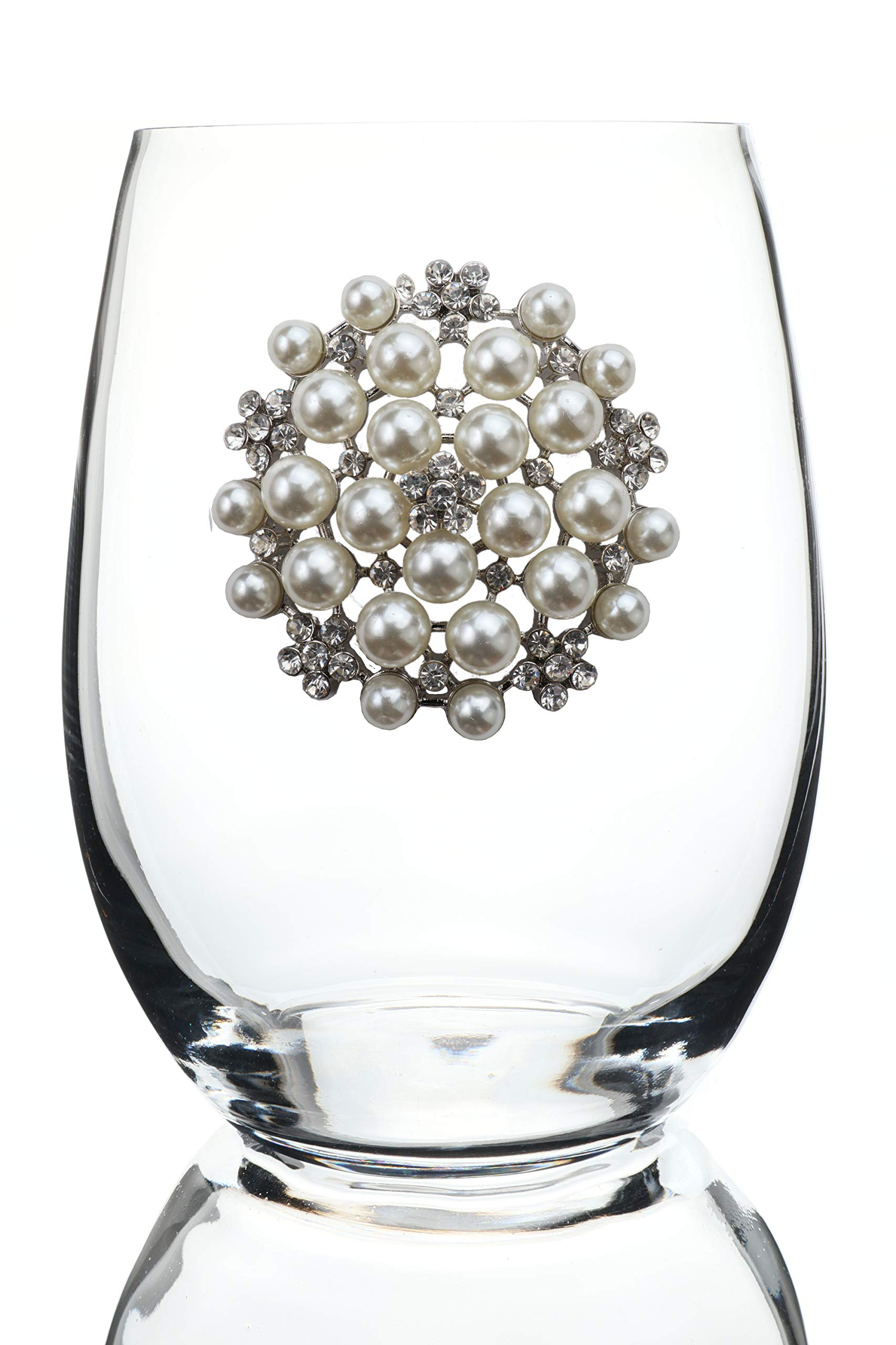 THE QUEENS' JEWELS Round Pearl Jeweled Stemless Wine Glass - Unique Gift for Women, Birthday, Cute, Fun, Not Painted, Decorated, Bling, Bedazzled, Rhinestone