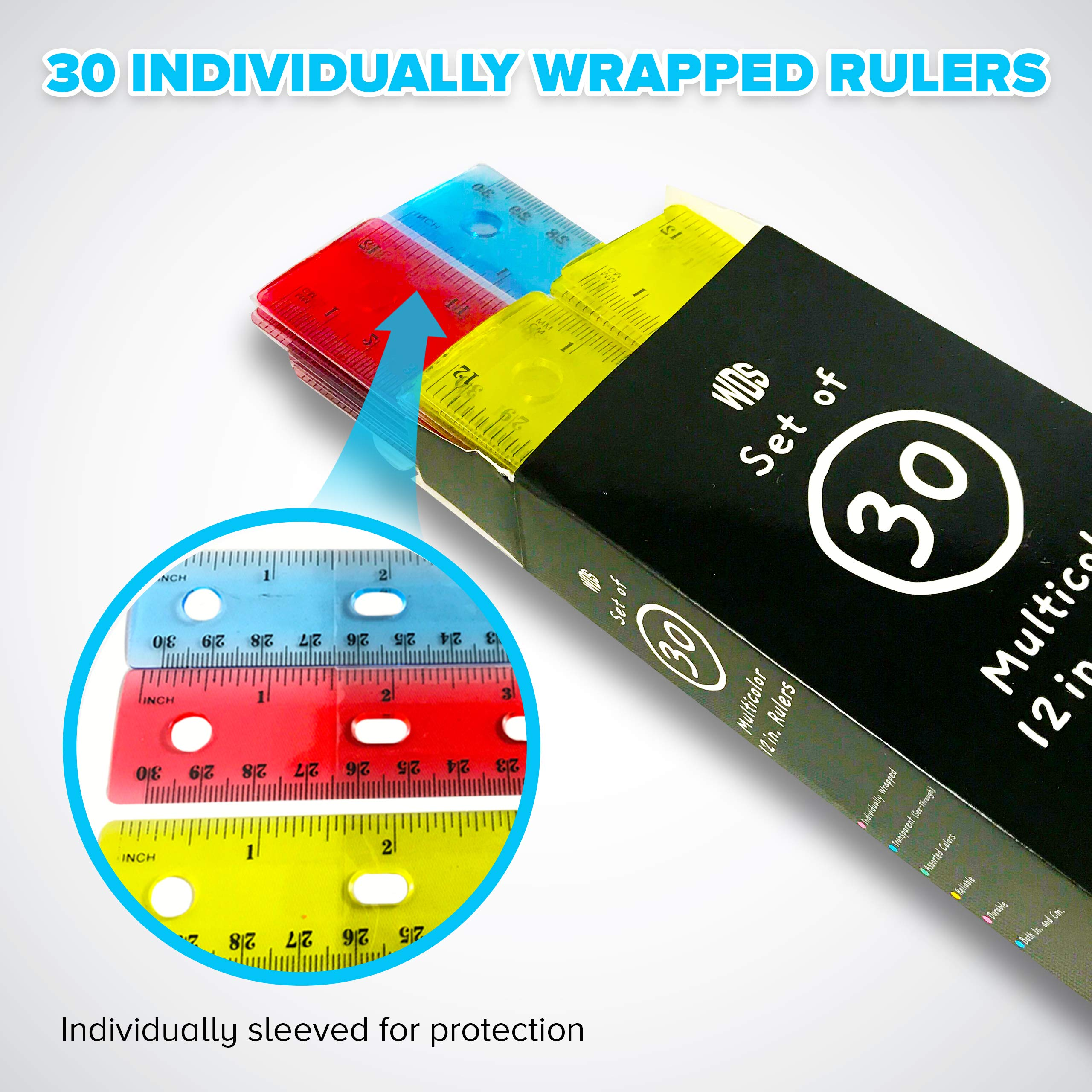 Rulers 12 Inch Bulk (30-Pack) - Plastic Ruler for Kids in Colorful Box - Individually Wrapped - Translucent Flexible - For School Teachers Students Class - Keep in 3 Ring Binder - Inches/Centimeters