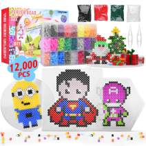 Longruner 12000 Perler Beads, Fuse Beads Kit 24 Colors 5Mm DIY Art Craft Toys for Kids with 3 Pegboards, 50 Patterns | Best Christmas Birthday Toys Gift for Girls Boys 5 Years Old +