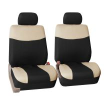 FH Group FH-FB056102 Modern Flat Cloth Seat Covers Pair Set, Beige/Black Color -Fit Most Car, Truck, SUV, or Van