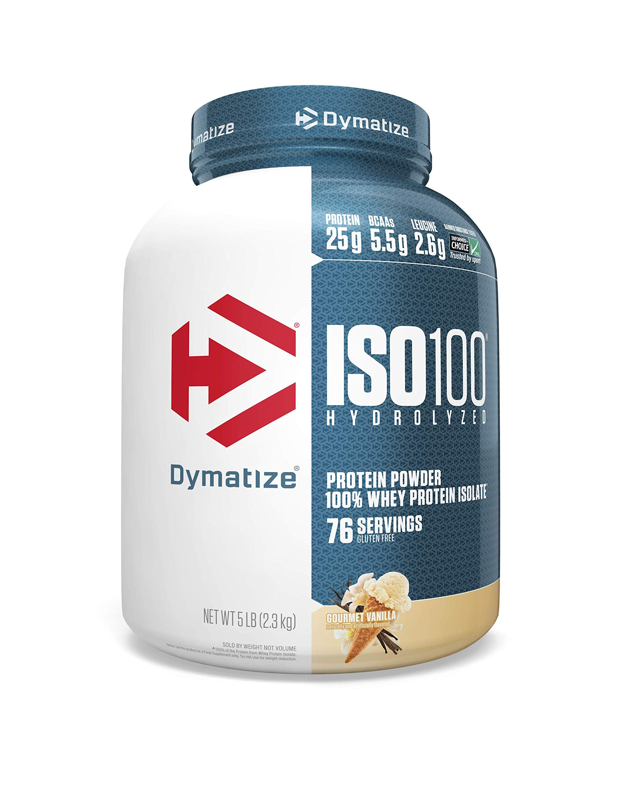 Dymatize ISO 100 Whey Protein Powder with 25g of Hydrolyzed 100% Whey Isolate, Gluten Free, Fast Digesting, Vanilla, 5 Pound
