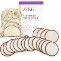 Reusable Make Up Remover Pads | 18 Bamboo Removal Pads with Laundry Bag | Washable and Eco-Friendly | For All Skin Types | Face Cleaner and Eye Make Up Remover Pads
