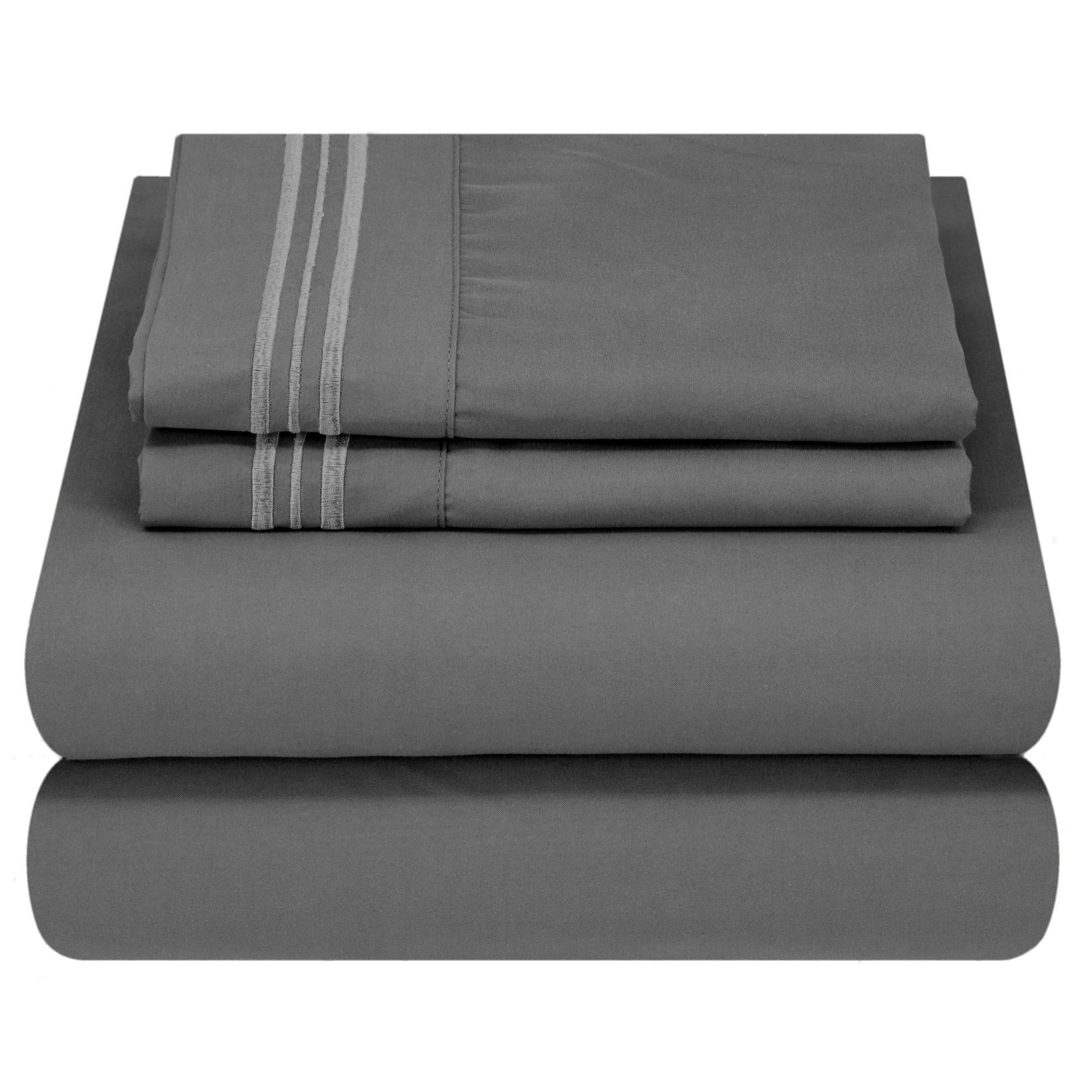 Mezzati Luxury Bed Sheet Set - Soft and Comfortable 1800 Prestige Collection - Brushed Microfiber Bedding (Gray, Twin XL Size)