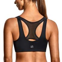 SYROKAN High Impact Sports Bras for Women Racerback Front Zip Wirefree Sports Bra with Padded Cups