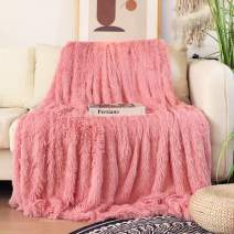 """Decorative Extra Soft Faux Fur Blanket Full Size 70"""" x 78"""",Solid Reversible Fuzzy Lightweight Long Hair Shaggy Blanket,Fluffy Cozy Plush Fleece Comfy Microfiber Fur Blanket for Couch Sofa Bed,Pink"""