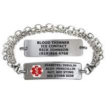 Divoti Custom Engraved Medical Alert Bracelets for Women, Stainless Steel Medical Bracelet, Medical ID Bracelet w/Free Engraving – Classic Tag w/Tri-Strand Chain – Color/Size