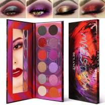 Highly Pigmented Purple Eyeshadow Palette Makeup Set,Afflano Matte Shimmer Glitter Duochrome Eye shadow Pallet,Red Orange Pink Violet Black Velvet Natural Warm Vegan Eye Palettes Gift Kit 12 Colors