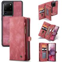 XRPow Wallet Case for Galaxy S20 Ultra, 2 in 1 Detachable Magnetic Wallet Case Vegan Leather Folio Card Pocket Zipper Clutch Case Cash Purse Shock Protection Case Flip Cover for Galaxy S20 Ultra Red