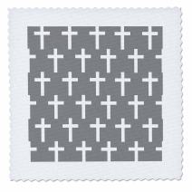 3dRose Charcoal Grey Christian Pattern White Religious Crucifix Crosses-Quilt Square, 6 by 6-inch (qs_185491_2)