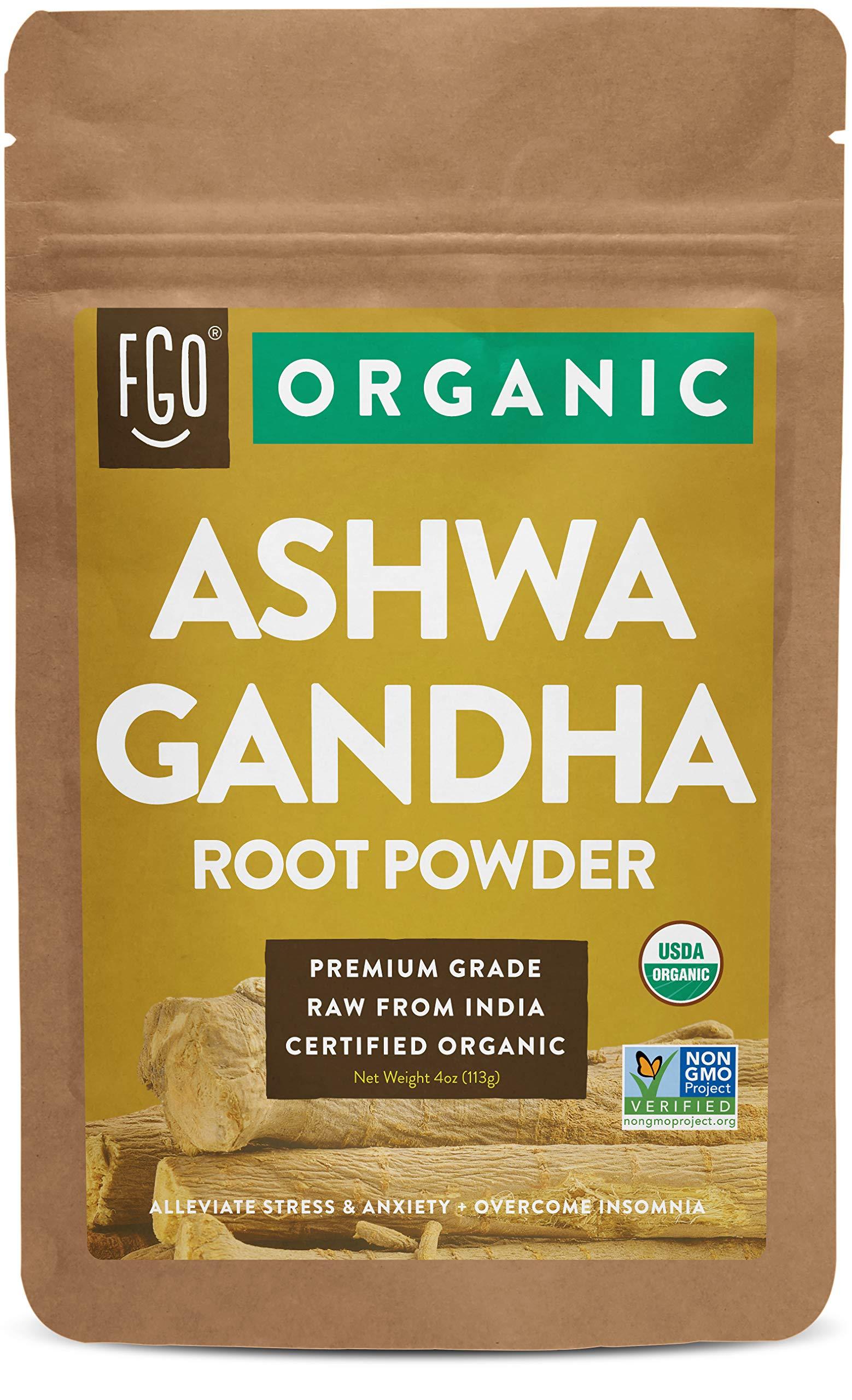 Organic Ashwagandha Root Powder | 4oz Resealable Kraft Bag | 100% Raw From India | by FGO