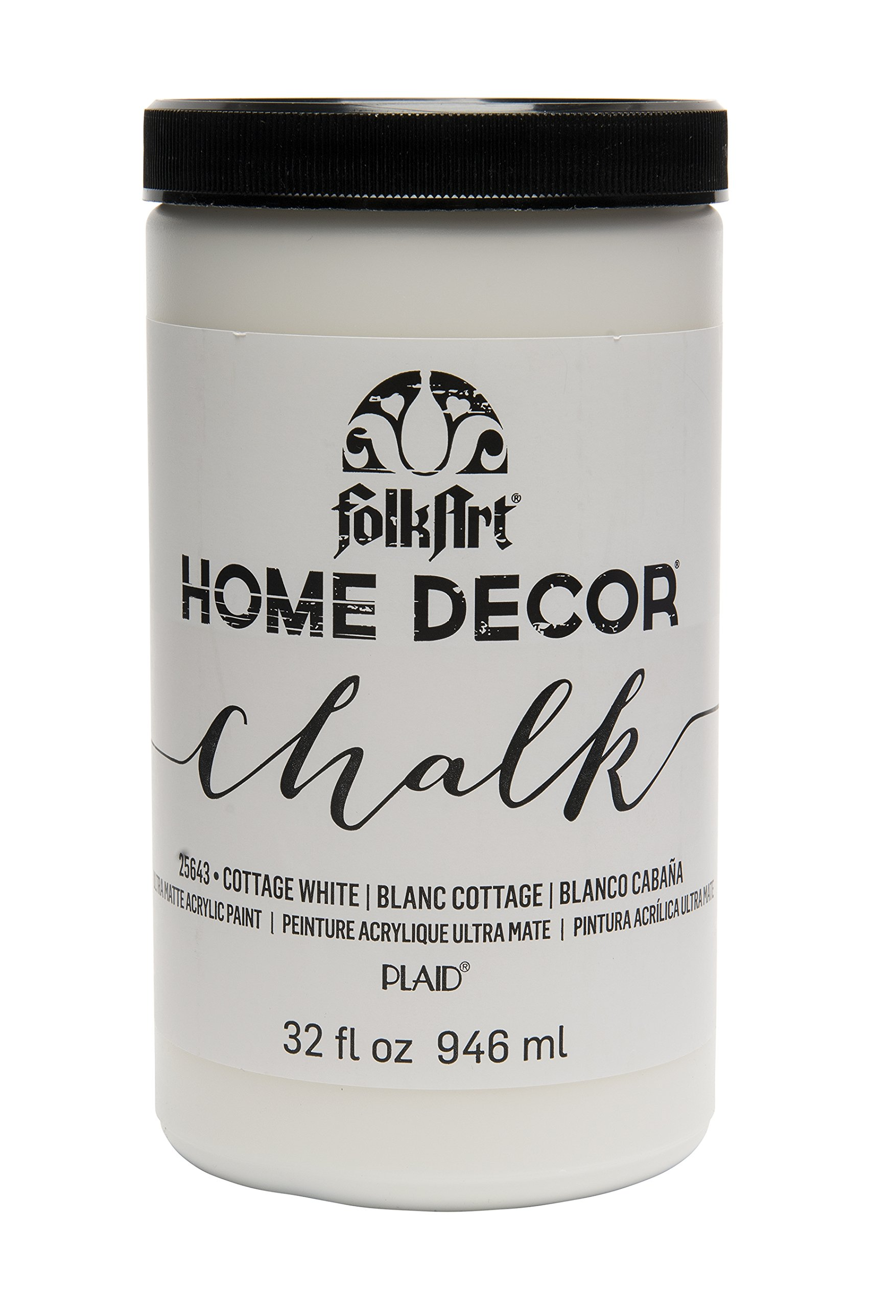 FolkArt 25643 Home Decor Chalk Furniture & Craft Paint in Assorted Colors, 32 ounce, Cottage White
