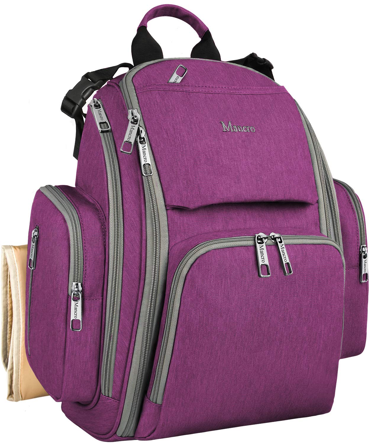 Diaper Backpack, Baby Diaper Bags Nappy Bag for Dad and Mom, Unisex Travel Maternity Hands Free Outdoor Back Packs with Stroller Straps, Changing Mat, Insulated Pockets, Water Resistant, Purple