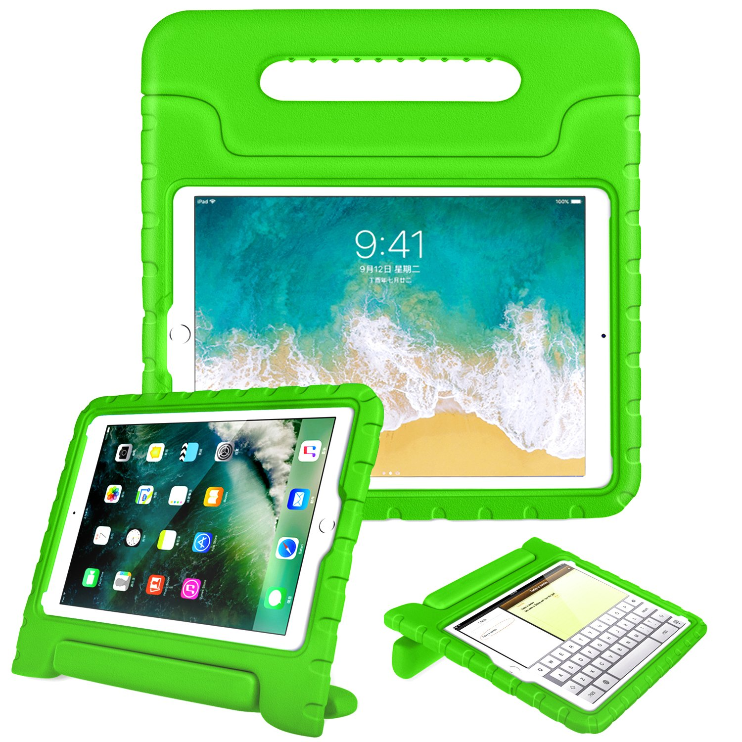 Fintie Case for iPad 6th Generation 2018 / iPad 5th Generation 2017 / iPad Air 2 / iPad Air (9.7 Inch) - Kiddie Series Light Weight Shock Proof Convertible Handle Stand Cover Kids Friendly, Green