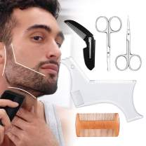 Beard Shaping Tool, Beard Shaping Template & Guide, for Perfect line up & Edging    Comes with Beard Shaper & Wood and Folding Comb & Two Scissors - Works with any Electric Trimmers or Clippers