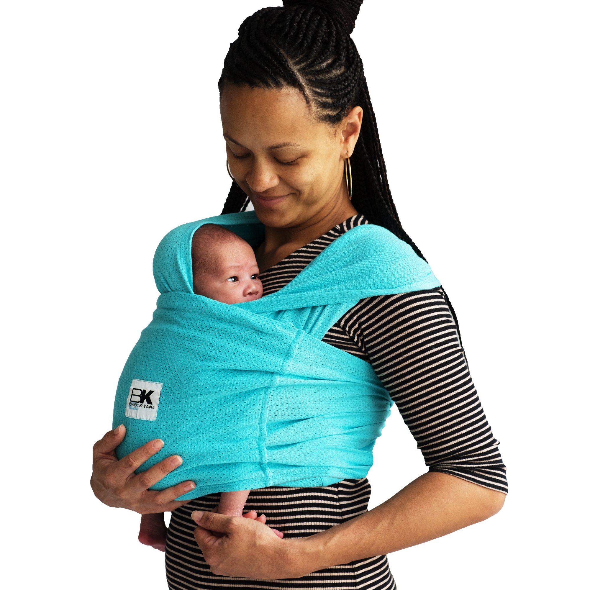Baby K'tan Breeze Baby Wrap Carrier, Infant and Child Sling - Simple Wrap Holder for Babywearing - No Rings or Buckles - Carry Newborn up to 35 lbs, Teal, X-Small (W Dress 2-4 / M Jacket up to 36)