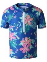 Caracilia Girls' UPF 50+ Sun Protective Short Sleeve Rashguard Swim Shirt with Zipper