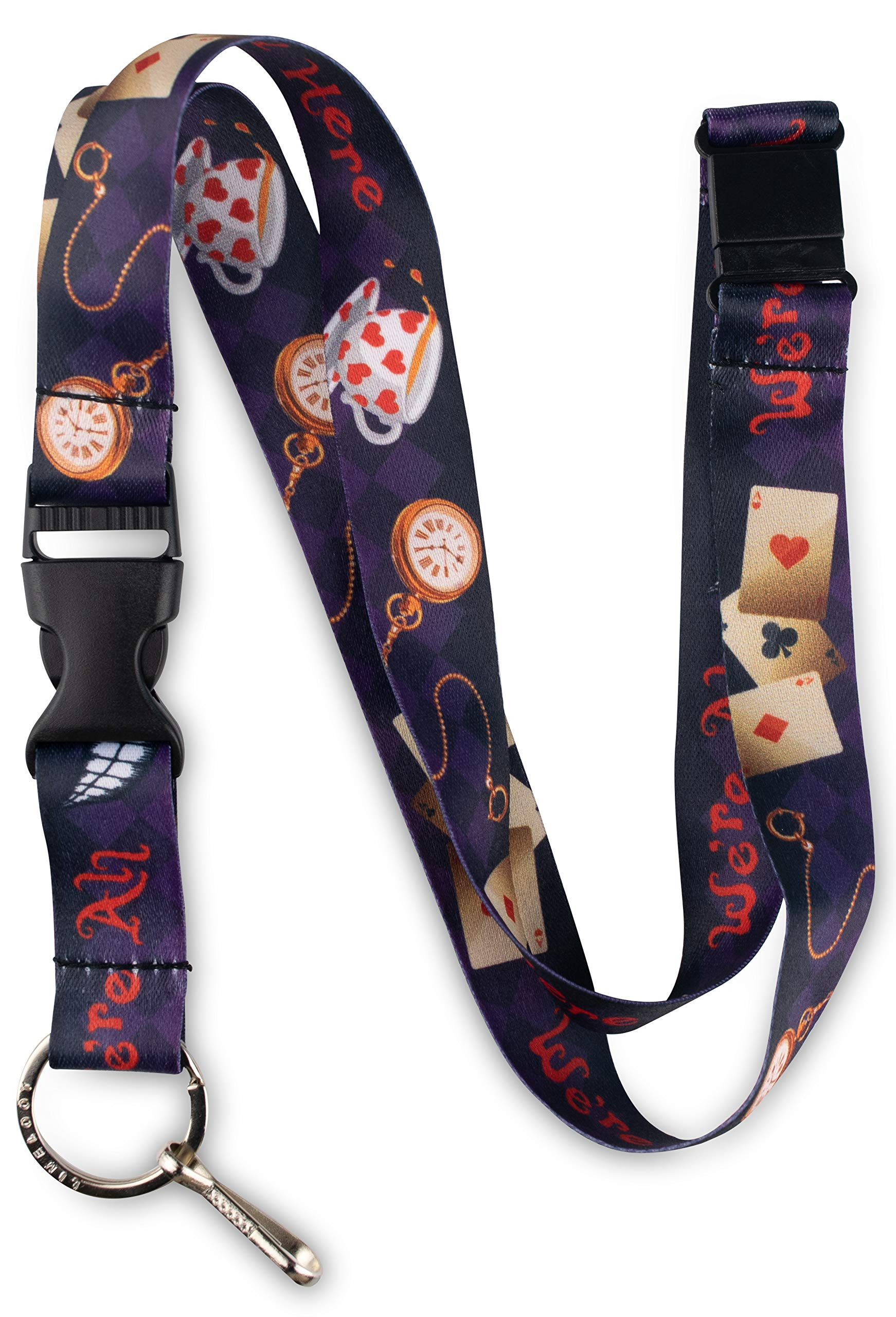 Limeloot Alice in Wonderland We are All Mad Here Premium Lanyard with Breakaway, Release Buckle, and Flat Ring