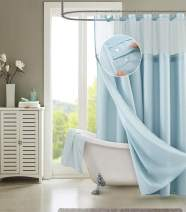 Dainty Home Smart Design Complete 2 in 1 Waffle Weave Hotel Spa Style Fabric Shower Curtain Snap On/Off Waterproof Detachable Liner Set, 72 inch wide x 72 inch long, LIGHT BLUE
