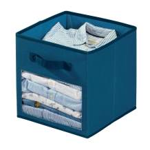 iDesign Emmy Fabric Storage Cube Bin, Small Basket Container with Dual Side Handles for Closet, Bedroom, Toys, Nursery - Blue