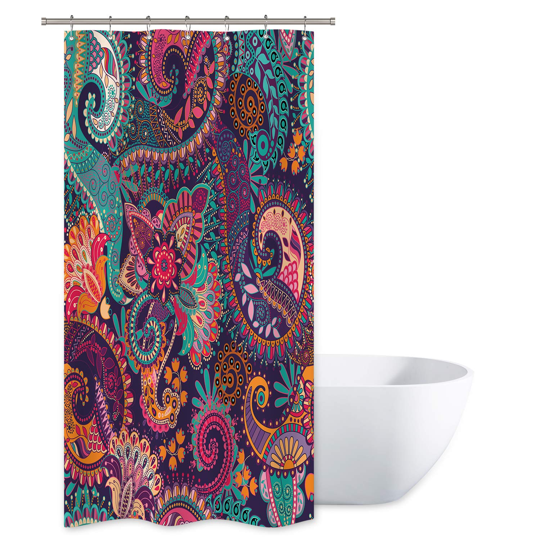 Abstract Pattern Shower Curtain Set Waterproof Fabric Bathroom Decor w// Hooks
