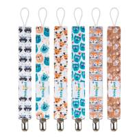 Babygoal Pacifier Clips, 6 Pack Pacifier Holder for Boys and Girls Fits Most Pacifier Styles &Teething Toys and Baby Shower Gift 6MP18