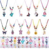 24 Pcs Kids Jewelry for Girls Woven Friendship Bracelets and Necklaces Set with Animal Unicorn Mermaid Butterfly Flower Pendants Gift for Little Girls