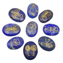 HARMONIZE 9 Pcs Set Lapis Lazuli Spiritual Reiki Healing Stone Karuna Symbol Gemstone