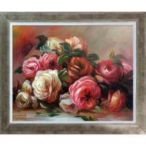 """La Pastiche RN2850-FR-6878058X10 Discarded Roses with Champagne Silhouette Framed Hand Painted Oil Reproduction, 12.4"""" x 10.4"""", Multi"""