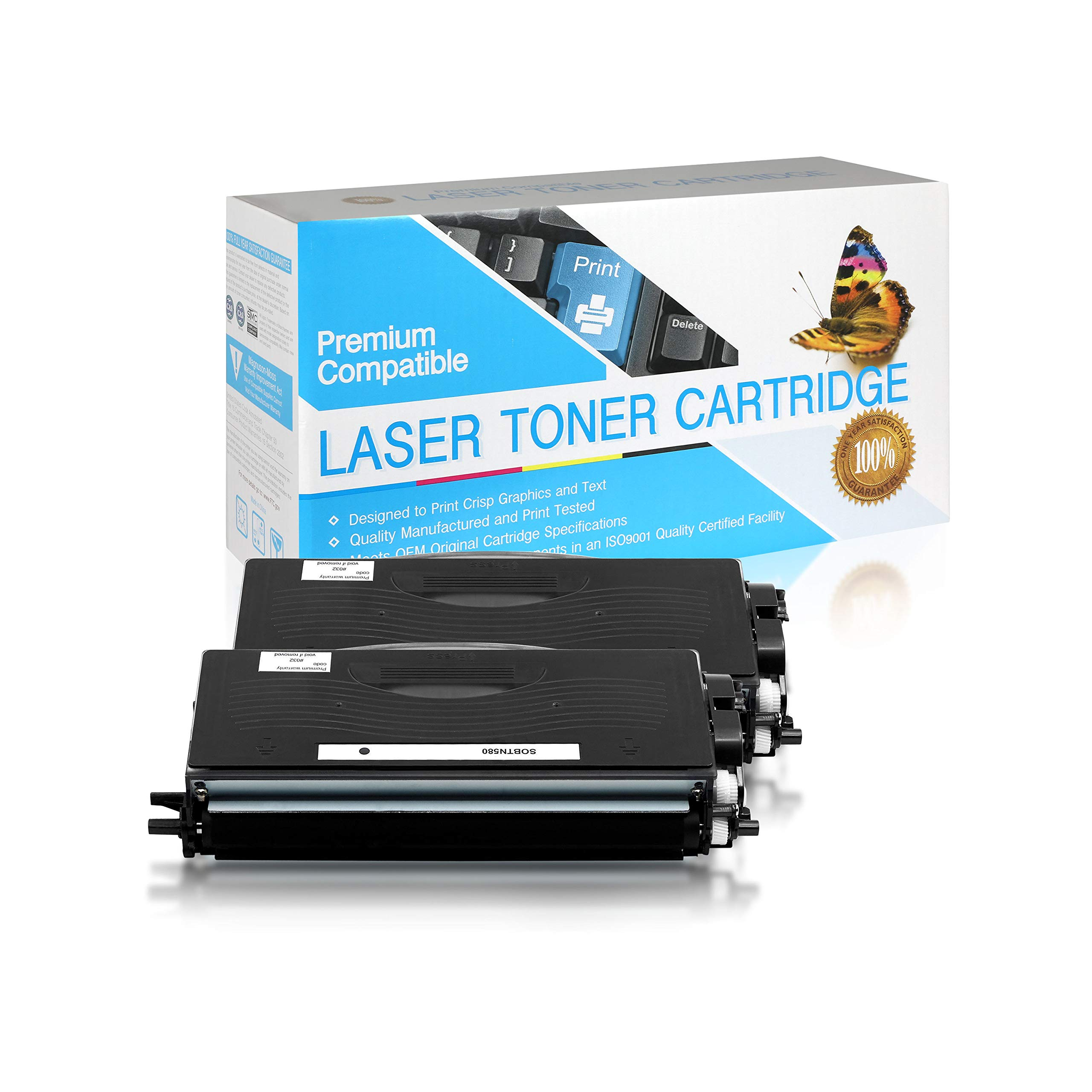 SuppliesOutlet Compatible Toner Cartridge Replacement for Brother TN550 / TN580 (Black,2 Pack)