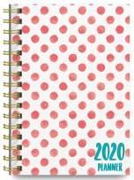 2020 Polka Dots Soft Cover Academic Year Day Planner Book by Bright Day, Weekly Monthly Dated Agenda Spiral Bound Organizer, 16 Month Calendar 6.25 x 8.25 Inch,