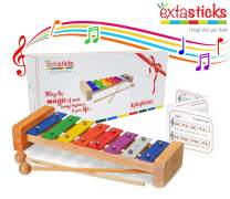 Extasticks Xylophone for Kids - Musical Instrument for Toddlers - Wooden Music Toy for Baby Girls and Boys + Song Book & Mesh Bag for Children