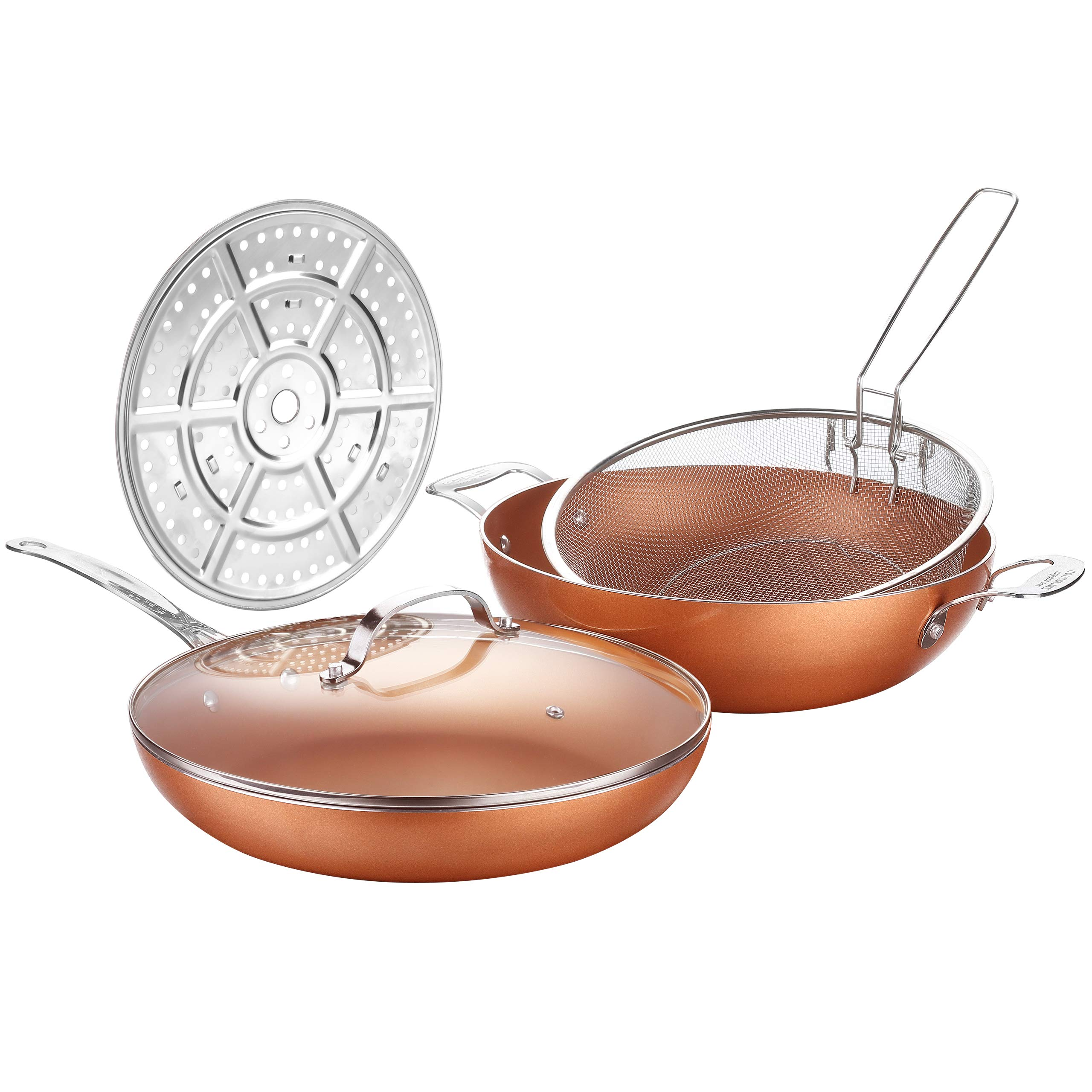 AMERICOOK 5 Piece, 12-Inch Copper, Nonstick Deep Pan, Chip Fryer Pan with Stainless Steel Basket Steamer Rack and Glass Lid, Induction Deep Fat Fryer for Oven, Roast, Bake, Grill, Steam, Oven Safe