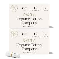 Cora Organic Cotton Non-Applicator Tampons; Chlorine & Toxin Free - Light (36 Count)