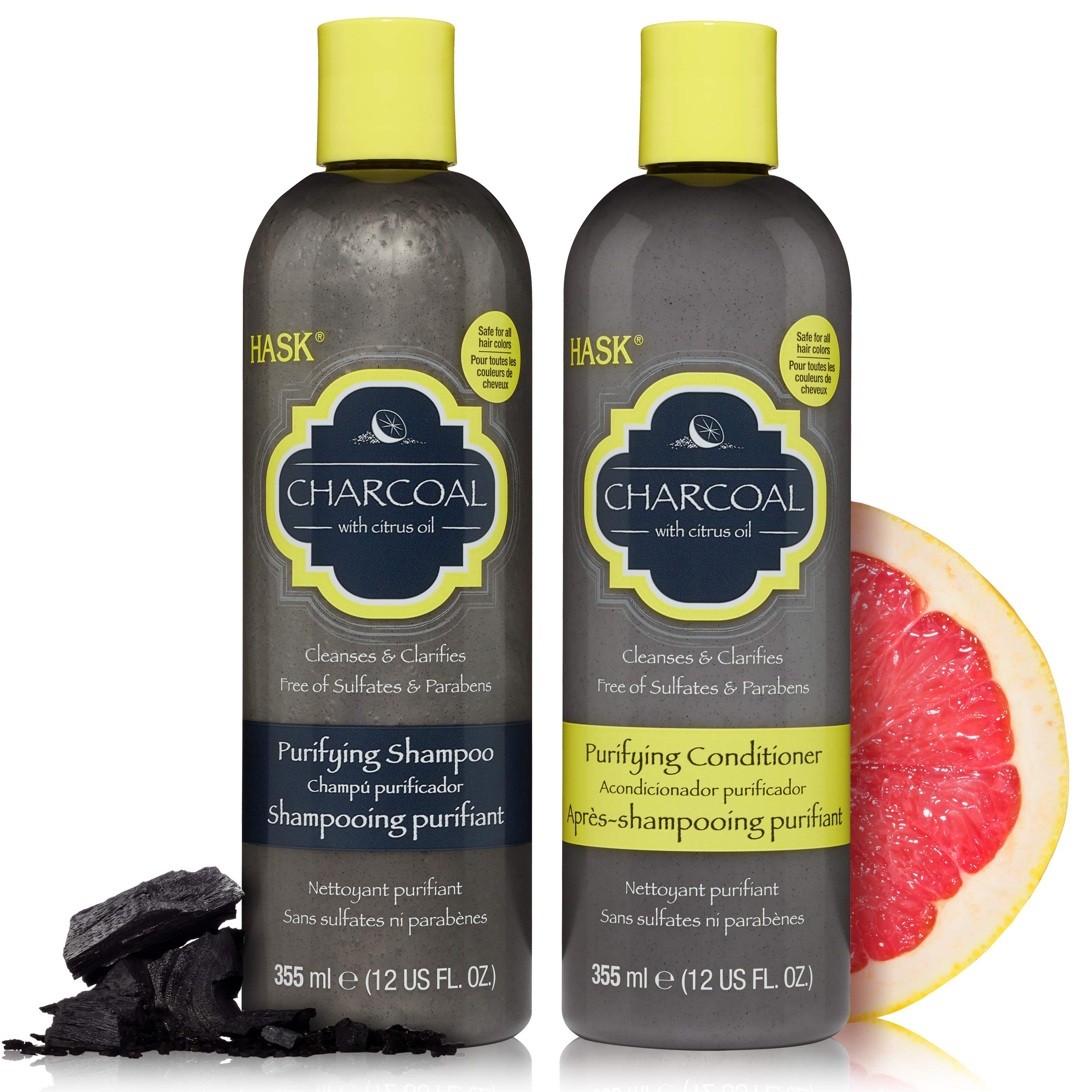 HASK CHARCOAL WITH CITRUS OIL Shampoo and Conditioner Set Detoxifying, Clarifying and Purifying - Color safe, gluten-free, sulfate-free, paraben-free - 1 Shampoo and 1 Conditioner