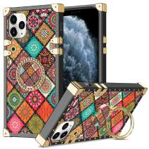 WOLLONY for iPhone 11 Pro Max Case with Ring Holder Square Edge for Women Retro Flower Soft Protective Kickstand Case Metal Reinforced Corners Shockproof Cover for iPhone 11 Pro Max 6.5inch Mandala
