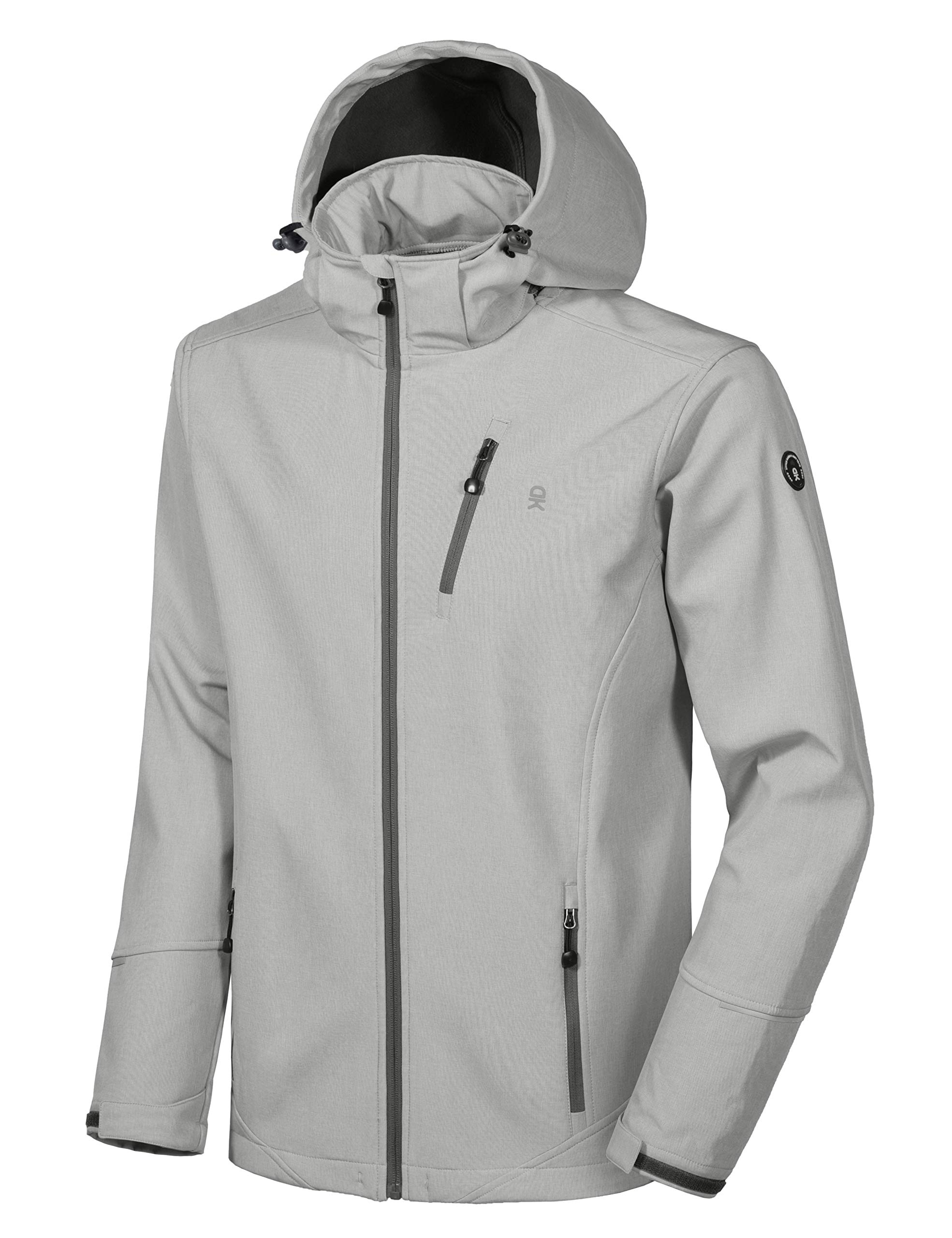 Little Donkey Andy Men's Softshell Jacket Ski Jacket with Removable Hood, Fleece Lined and Water Repellent